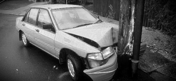 Car Crashed into Utility Pole
